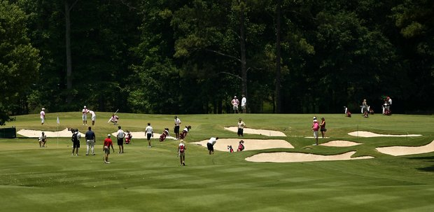 A view of the 18th fairway during Monday's practice at the 2013 NCAA Championship at Capital City Club Crabapple Course.