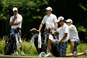California's Michael Kim, Brandon Hagy, Michael Weaver and Joel Stalter during Monday's practice at the 2013 NCAA Championship at Capital City Club Crabapple Course.
