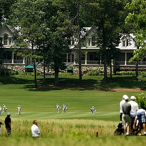 A view of the back of the clubhouse as teams practuce during the 2013 NCAA Championship.