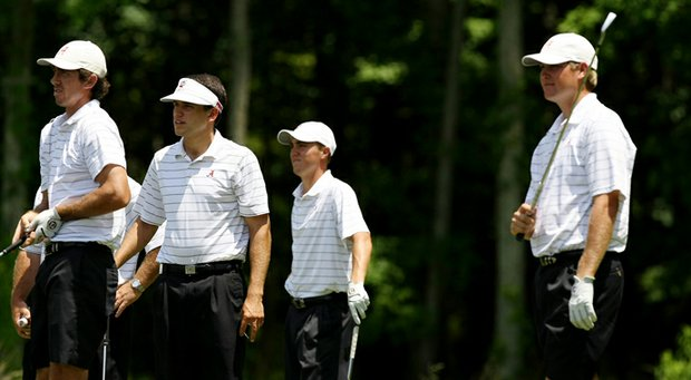 The Alabama team during Monday practice at the 2013 NCAA Championship at Capital City Club Crabapple Course. Left to right: Scott Strohmeyer, Cory Whitsett, Justin Thomas and Trey Mullinax.