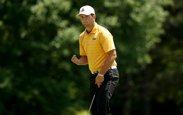 Jon Rahm of Arizona State makes birdie at No. 5 during the Round 1 of the 2013 NCAA Championship. Rahm posted a 61 in his first round.