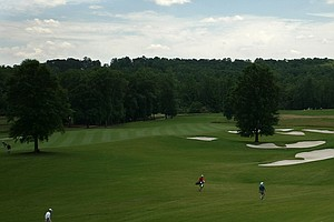 Looking over fairways of No. 17 and 16 during Round 1 of the 2013 NCAA Championship at Capital City Club Crabapple Course.