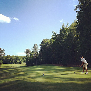 Georgia Tech's Seth Reeves tees off on No. 8 at the Crabapple course.