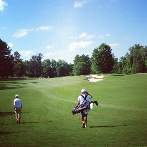 California's Max Homa walks up the 9th fairway. He shot an even-par 70 during the first round of the NCAA Championship.