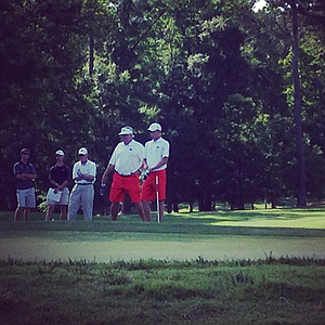 Georgia Bulldogs had red shorts on today during the first round.
