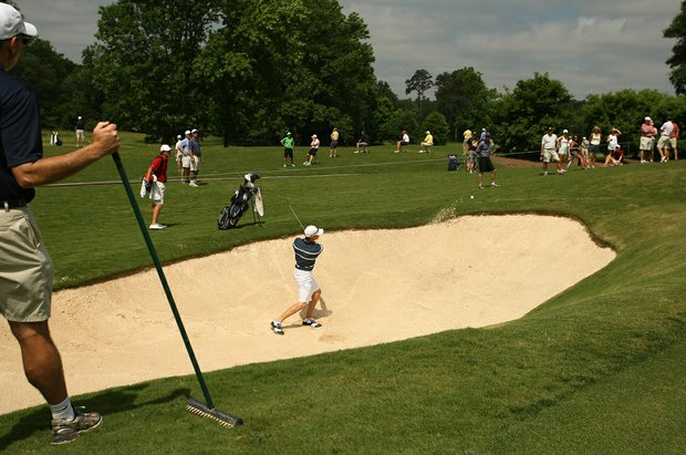 Cal's Brandon Hagy hits out of a bunker at No. 15 during Round 2 of the 2013 NCAA Championship at Capital City Club Crabapple Course.