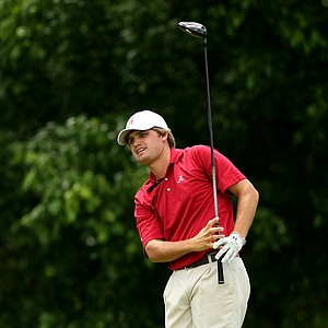 Alabama's Bobby Wyatt during watches his tee shot at No. 16 Round 2 of the 2013 NCAA Championship at Capital City Club Crabapple Course.