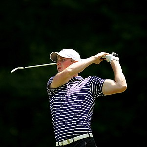 TCU's Pontus Gad watches his shot at No. 15 during Round 2 of the 2013 NCAA Championship at Capital City Club Crabapple Course.