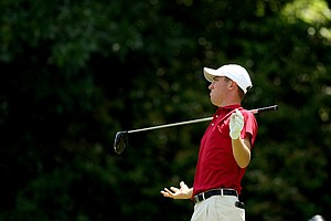 Alabama's Justin Thomas lets go of his club at No. 16 after hitting his tee shot during Round 2 of the 2013 NCAA Championship.