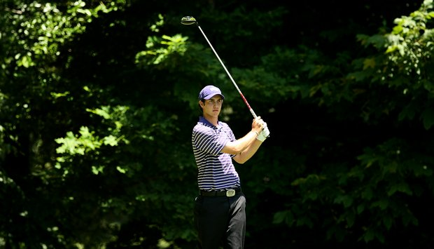 TCU's Julien Brun watches his tee shot at No. 17 during Round 2 of the 2013 NCAA Championship at Capital City Club Crabapple Course.