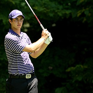 TCU's Julien Brun watches his tee shot at No. 17 during the second round of the 2013 NCAA Championship at Capital City Club Crabapple course.