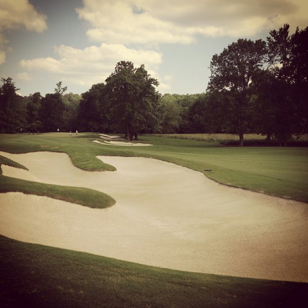 Fairway bunkers at No. 11 during Round 2 of the 2013 NCAA Championship at Capital City Club Crabapple Course.