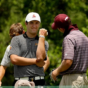 ASU's John Rahm shows off what he wrote on his hand as little reminders during the final round of stroke play of the 2013 NCAA Championship.