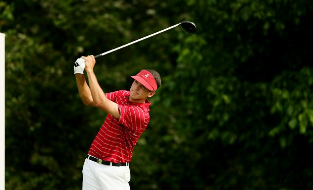 Alabama's Cory Whitsett hits his tee shot at No. 16 during the final round of stroke play of the 2013 NCAA Championship.