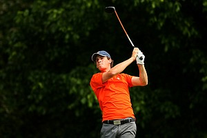Illinois' Thomas Pieters hits his tee shot at No. 16 during the final round of stroke play of the 2013 NCAA Championship. Pieters finished with T16 individually.