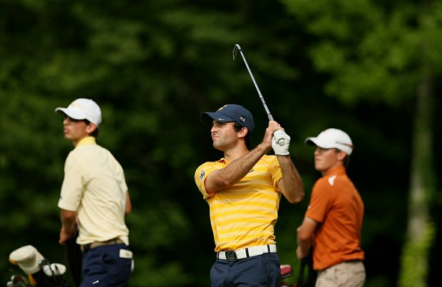 Cal's Joel Stalter hits his tee shot at No. 15 during the final round of stroke play of the 2013 NCAA Championship.