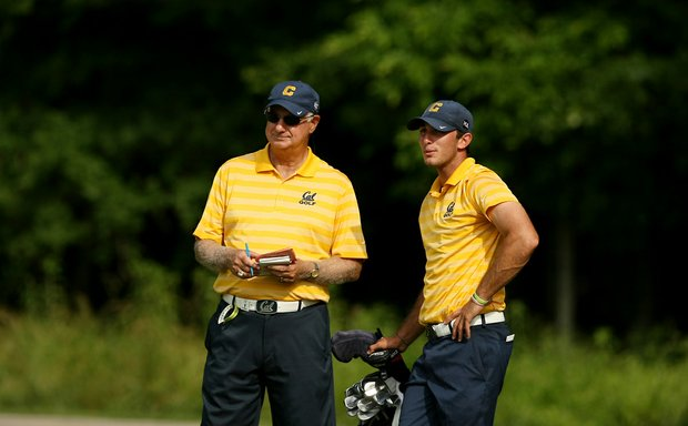 Cal's Steve Desimone and Max Homa at No. 15 during the final round of stroke play of the 2013 NCAA Championship.