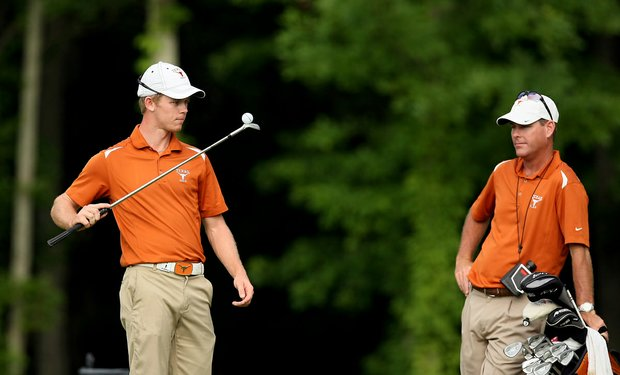 Texas assistant Ryan Murphy , right, with Brandon Stone as they wait at No. 15 during the final round of stroke play of the 2013 NCAA Championship.