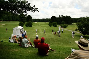 A view of No. 1 during the Kramer Hickok of Texas vs. Brian Campbell of Illinois match in the quarterfinals of match play at the 2013 NCAA Championship at Capital City Club Crabapple Course.