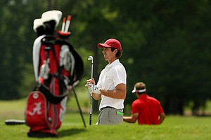 Alabama's Scott Strohmeyer defeated Benjamin Bauch, 4&3, during the quarterfinals of match play at the 2013 NCAA Championship at Capital City Club Crabapple Course.