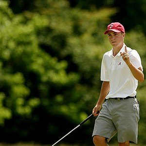 Alabama's Justin Thomas defeated New Mexico's James Erkenbeck, 4&3, during the quarterfinals of match play at the 2013 NCAA Championship at Capital City Club Crabapple Course.