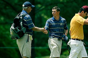 Cal's Brandon Hagy defeated Arizona State's Jon Rahm at No. 18 during the quarterfinals of match play at the 2013 NCAA Championship at Capital City Club Crabapple Course.