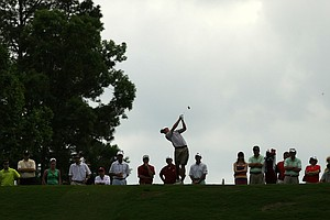 Alabama's Justin Thomas at No. 3 tee during the semifinals of match play at the 2013 NCAA Championship.