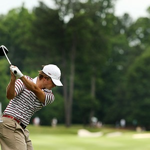 Alabama's Bobby Wyatt hits his tee shot at No. 9 during the semifinals of match play at the 2013 NCAA Championship.