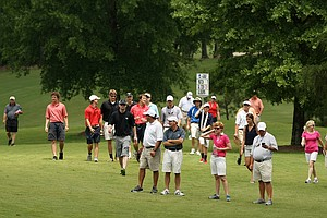 Crowds following the first match of the day Georgia Tech vs Alabama during the semifinals of match play at the 2013 NCAA Championship at Capital City Club Crabapple Course.