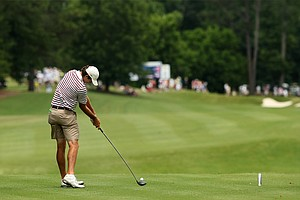 Alabama's Scott Strohmeyer hits his tee shot at No. 9 during the semifinals of match play at the 2013 NCAA Championship at Capital City Club Crabapple Course. Alabama advances to the finals.