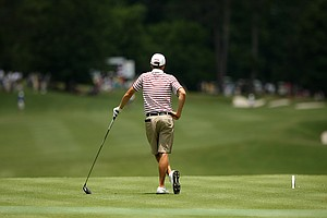 Alabama's Justin Thomas waits to hit at No. 9 during the semifinals of match play at the 2013 NCAA Championship at Capital City Club Crabapple Course.