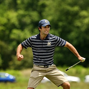 Cal's Joel Stalter pumps his fist after chipping in at No. 15 during the semifinals of match play at the 2013 NCAA Championship at Capital City Club Crabapple Course.