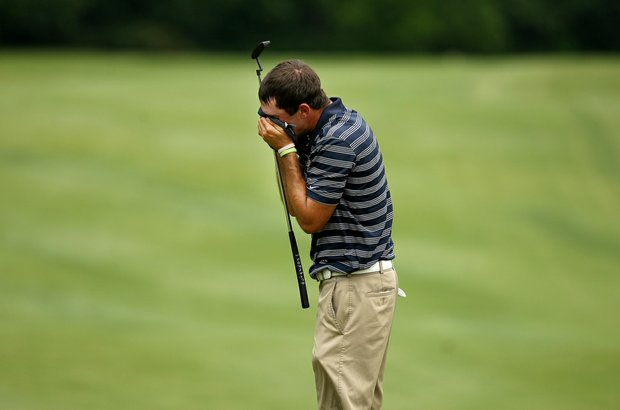 Cal's Max Homa is overcome with emotion after losing his match to Illinois' Thomas Pieters during the semifinals of match play at the 2013 NCAA Championship. Illinois advances to play Alabama in the finals.