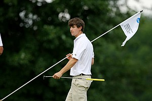Georgia Tech's Ollie Schniederjans lost his match 3 and 2 to Cory Whitsett during the semifinals of match play at the 2013 NCAA Championship at Capital City Club Crabapple Course.