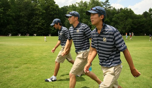 Cal's Joel Stalter, Max Homa, and Michael Kim follow Max Homa's match during the semifinals of match play at the 2013 NCAA Championship at Capital City Club Crabapple Course.