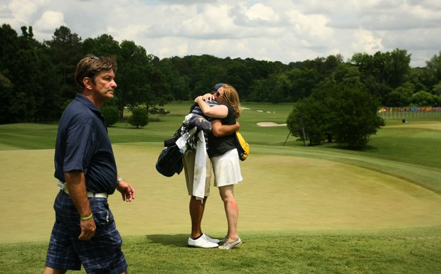 Cal's Max Homa is consoled by his mom, Bonnie, after losing his match to Illinois' Thomas Pieters during the semifinals of match play at the 2013 NCAA Championship.
