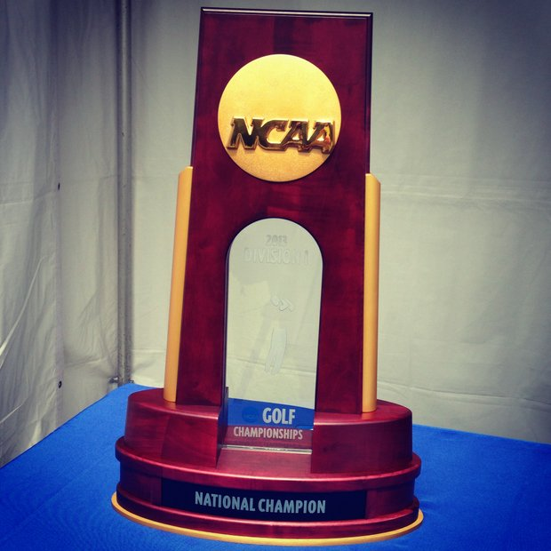 The trophy sits at the first tee during the semifinals of match play at the 2013 NCAA Championship at Capital City Club Crabapple Course.