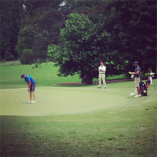 Illinois' Thomas Pieters lips out for birdie on No. 13 as Cal's Max Homa looks on.