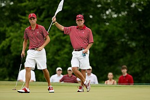 Alabama's Justin Thomas and head coach Jay Seawell at No. 11 during the 2013 NCAA Championship at Capital City Club Crabapple Course.