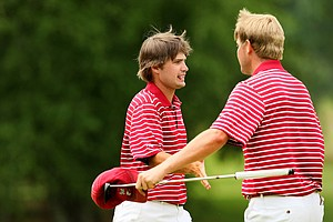 Alabama's Bobby Wyatt and Trey Mullinax celebrated having won their matches at the 2013 NCAA Championship at Capital City Club Crabapple Course.