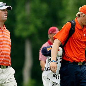 Illinois head coach Mike Small and Charlie Danielson at No. 18 at the 2013 NCAA Championship at Capital City Club Crabapple Course.