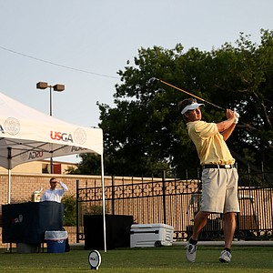 Scott McVarish tees off at the U.S. Open Sectional Qualifier at Lakewood Country Club.