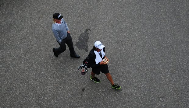 Charley Hoffman and caddie at The Lakes Country Club for U.S. Open Sectional Qualifying.