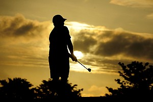 A U.S. Open Sectional Qualifying contestant at sunrise.