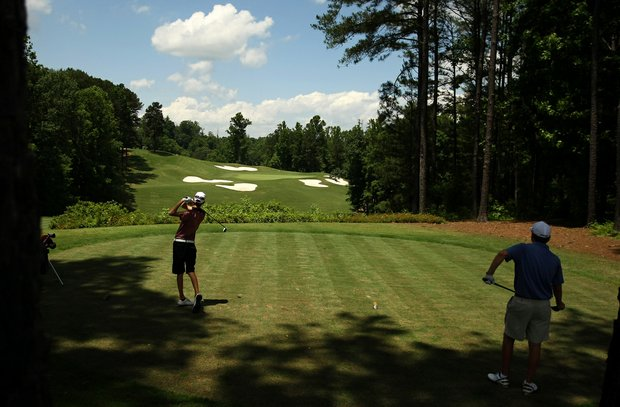 Tanner Gross of Archdale, N. C.  tees off at No. 5 during U. S. Open Sectional Qualifying at Hawks Ridge Golf Club in Ball Ground, GA.