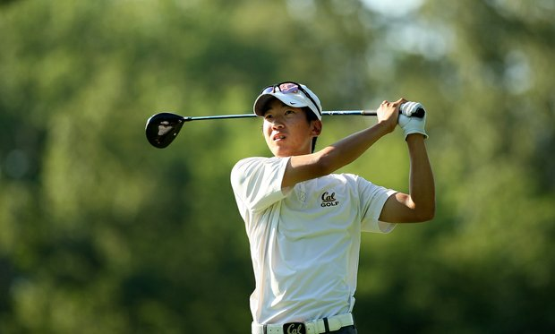 Co-medalist Michael Kim watches his tee shot at No. 9 during U. S. Open Sectional Qualifying at Hawks Ridge Golf Club in Ball Ground, GA. Kim earned one of the three spots into the U. S. Open at Merion.