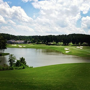 A view of No. 18 from the tee box during U. S. Open Sectional Qualifying at Hawks Ridge Golf Club in Ball Ground, GA. Fifty-two players are vying for 3 spots.