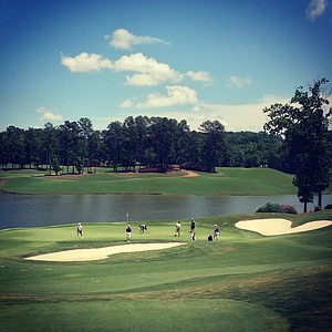 A view of No. 18 green during U. S. Open Sectional Qualifying at Hawks Ridge Golf Club in Ball Ground, GA.