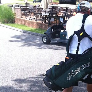 Brian Gay's caddie carries a lightweight Masters bag during the sectional qualifier at Memphis, Tenn., for the 2013 U.S. Open at Merion.