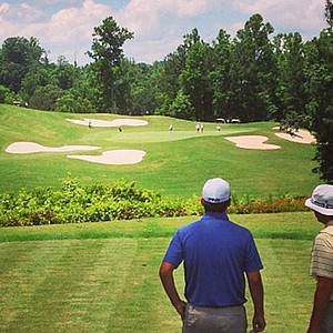 Scott Wolfes, left, at Hole No. 5 during U.S. Open sectional qualifying at Hawks Ridge Golf Club in Ball Ground, Ga.